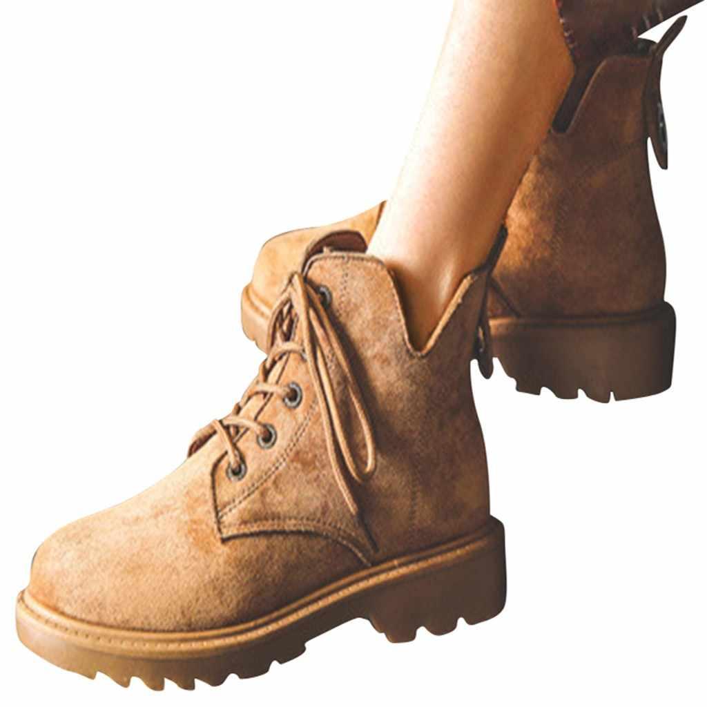2019 botas de motocicleta para mujer, botas cortas Retro de invierno, botas de ante Martin de moda, zapatos de tacón bajo tácticos caliente