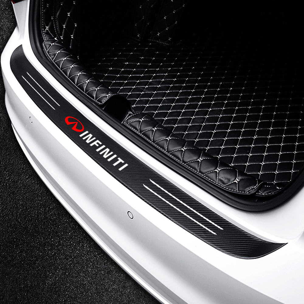 For Infiniti FX35 Q50 Q30 ESQ QX50 QX60 QX70 EX JX35 G35 G37 Car Carbon Fiber Trunk Rear Guard Bumper Plate Protector Sticker