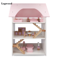 Big Size Doll House Furniture DIY 3D Wooden Dollhouse Toys Three storey villa Cosplay for Children Birthday Gifts