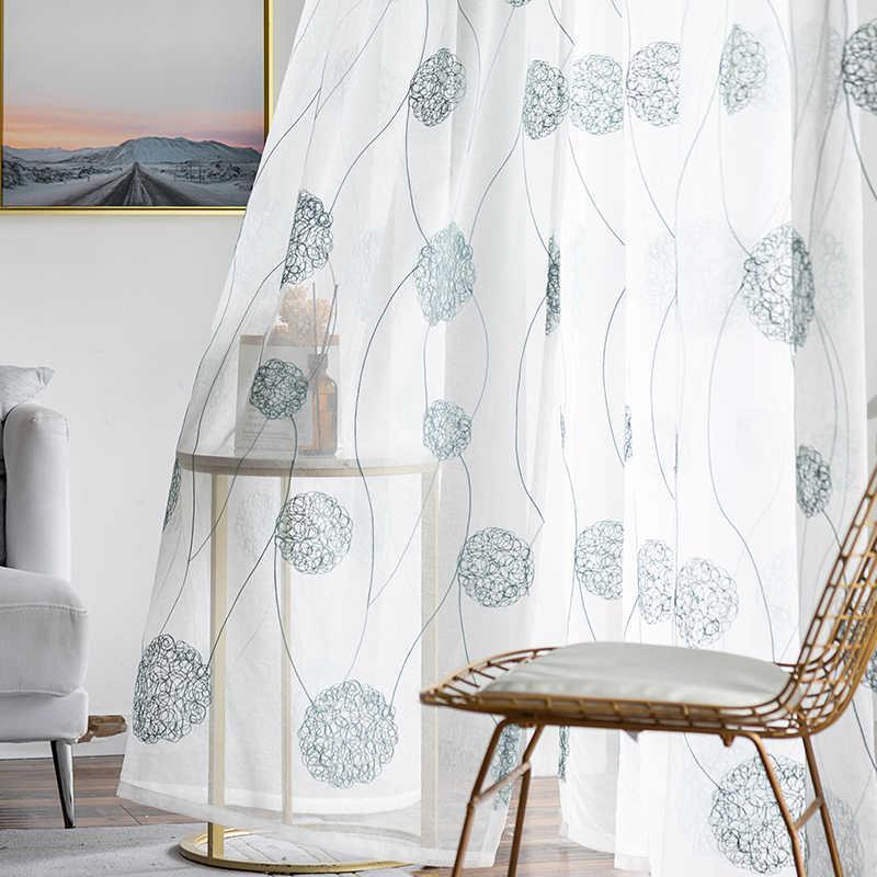สไตล์เกาหลีผ้าลินินสีขาวปัก Voile ผ้าม่านสำหรับผ้าม่านห้องนอนห้องนั่งเล่นผ้าม่านสีขาวผ้าม่านที่กำหนดเอง Made