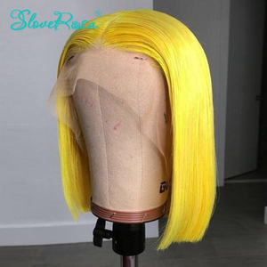 Image 2 - 13X4 renkli 130% yoğunluk kısa Bob peruk brezilyalı Remy saç dantel ön İnsan saç peruk ön koparıp özelleştirmek yapımı SloveRosa