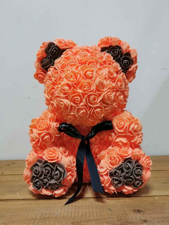 Fleurs artificielles Rose ours multicolore en plastique mousse Rose fleur ours en peluche saint valentin cadeau fête d'anniversaire printemps décoration