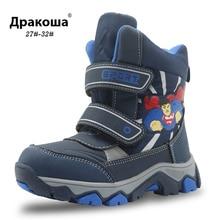 APAKOWA Mùa Đông Chống Nước Bé Trai Giày Giữa Bắp Chân Giày Trẻ Em Ấm Sang Trọng Cao Su Trẻ Em Giày Với Wollen Lót bé Trai EU 27 38