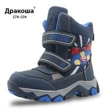 APAKOWA hiver imperméable garçons bottes mi-mollet chaussures pour enfants chaud en peluche caoutchouc enfants bottes avec doublure Wollen pour garçons EU 27-38