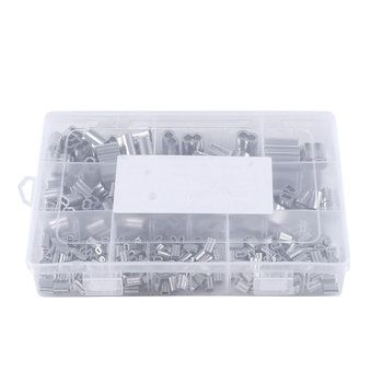 New 315Pcs 8 Sizes Aluminum Crimping Loop Sleeve Metric Assortment Kit for Wire Rope Cable Rigging фото