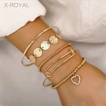 X-ROYAL 5Pcs/set New Unique Design Vintage Classic Heart Charm Bracelets Women Fashion Jewelry Luxury Gold Alloy Sets
