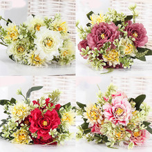 1 Bouquet Camellia Artificial Peony Rose Flowers Silk Fake flores Wedding Flower DIY Home Garden Party Decoration