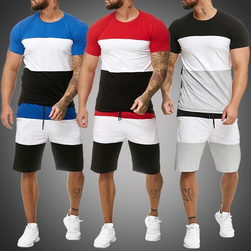 Conjuntos masculinos 2 peça roupa esporte conjunto tarja impressão sweatsuits shorts casuais definir roupas de moda verão masculino curto agasalho
