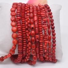 Бусины из натурального камня неправильной круглой формы, красные коралловые бусины, ювелирные бусины, нить 15 дюймов для DIY браслета, ожерелья, ювелирных изделий