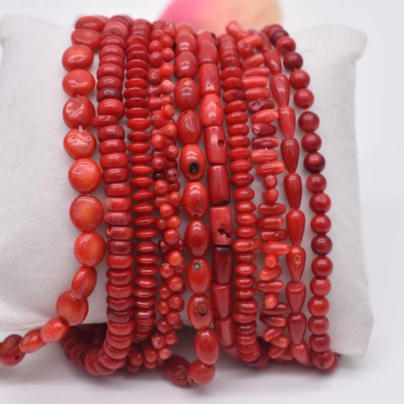 """Naturalny kamienny koralik nieregularny okrągły kształt czerwony biżuteria z korali Spacer koraliki Strand 15 """"dla DIY bransoletka naszyjnik tworzenia biżuterii"""
