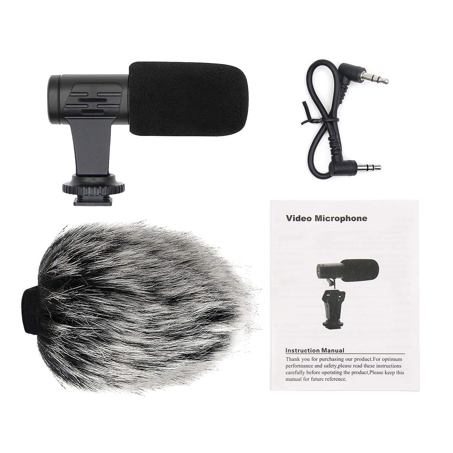 Portable Camera Microphone, Rabbit Hair Video Interview Microphone Directional Recording  Mic With Shock Mount For
