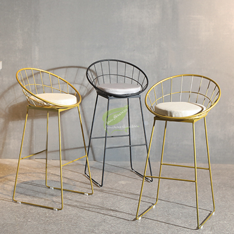 Gold Stool Bar Tabouret De Iron Bar Stools Modern Seat Beauty Salon Furniture Make Up Bar Chiar Front High Stool Creative Simple