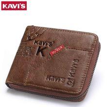 KAVIS 100% cartera de cuero genuino para hombre, monedero pequeño, Cuzdan, porta tarjetas