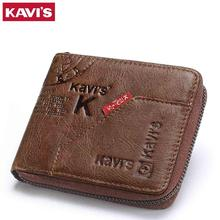Kavis 100% 本革財布メンズコイン財布男性cuzdan小さなwalet portomonee rfidミニポートフォリオvallet perseカードホルダー