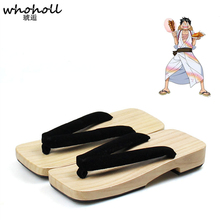 WHOHOLL Anime One Piece luffy cosplay costume geta slippers Man Japanese Wooden clogs Slippers male Flip-flops