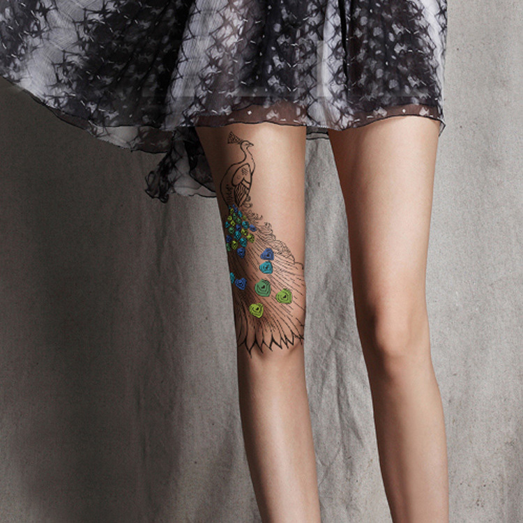 Color Peacock Tattoo Pantyhoses Wholesales And Dropshipping