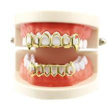 New Hip Hop Braces Top & Bottom Metal Teeth Bling Teeth Set Christmas Jewelry Party Gift Hot Body JewelryN(China)