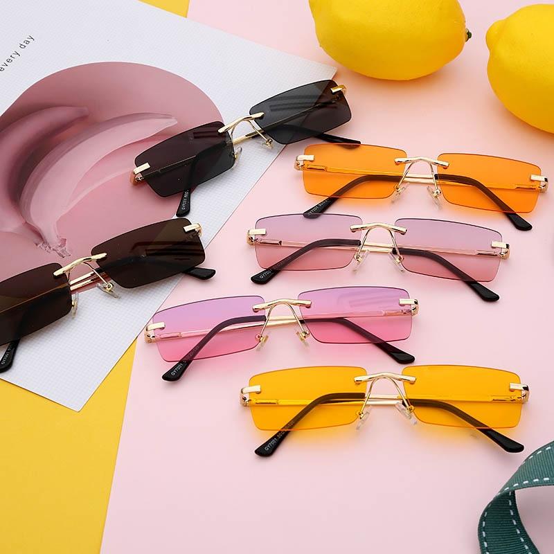 Rectangle Rimless Sunglasses Women Square Vintage Sunglasses Brand Designer Men Retro Small Yellow Gradient Glass UV400 Eyewear