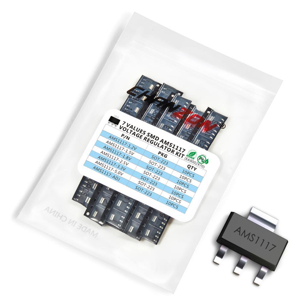 70pcs AMS1117 SOT-223 Low Dropout Voltage Regulator SMD Transistor Kit Assortment Bipolar Junction BJT Triode Tube Fets DIY Set