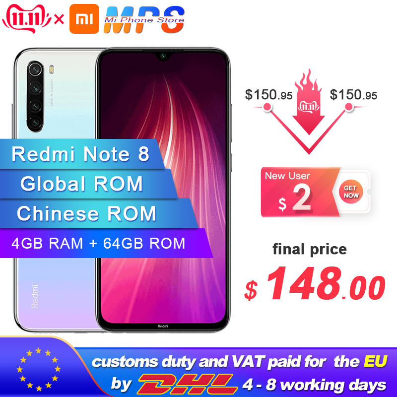 """Global ROM Xiaomi Redmi Note 8 64GB 4GB Smartphone Snapdragon  665 Octa Core  6.3"""" 48MP  Rear Camera 4000mAh Support 18W Phone-in Cellphones from Cellphones & Telecommunications"""