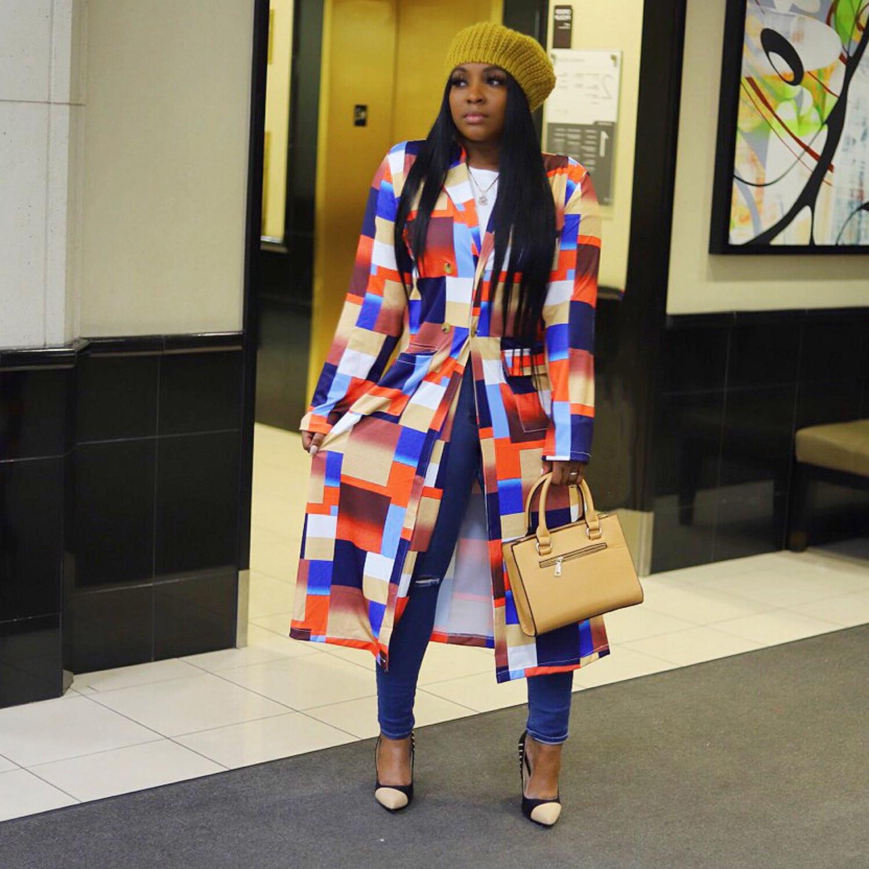 African Women Long Sleeve Printing Plus 4
