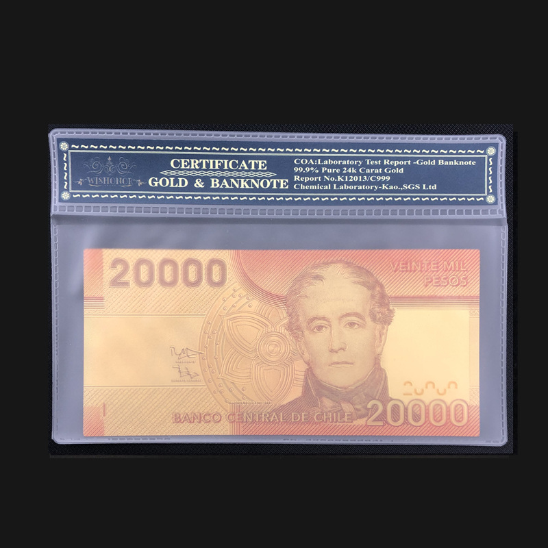 1pcs Color Chile Banknote 20000 Pesos Gold Note In COA Frame Fake Paper Money For Souveni Gifts