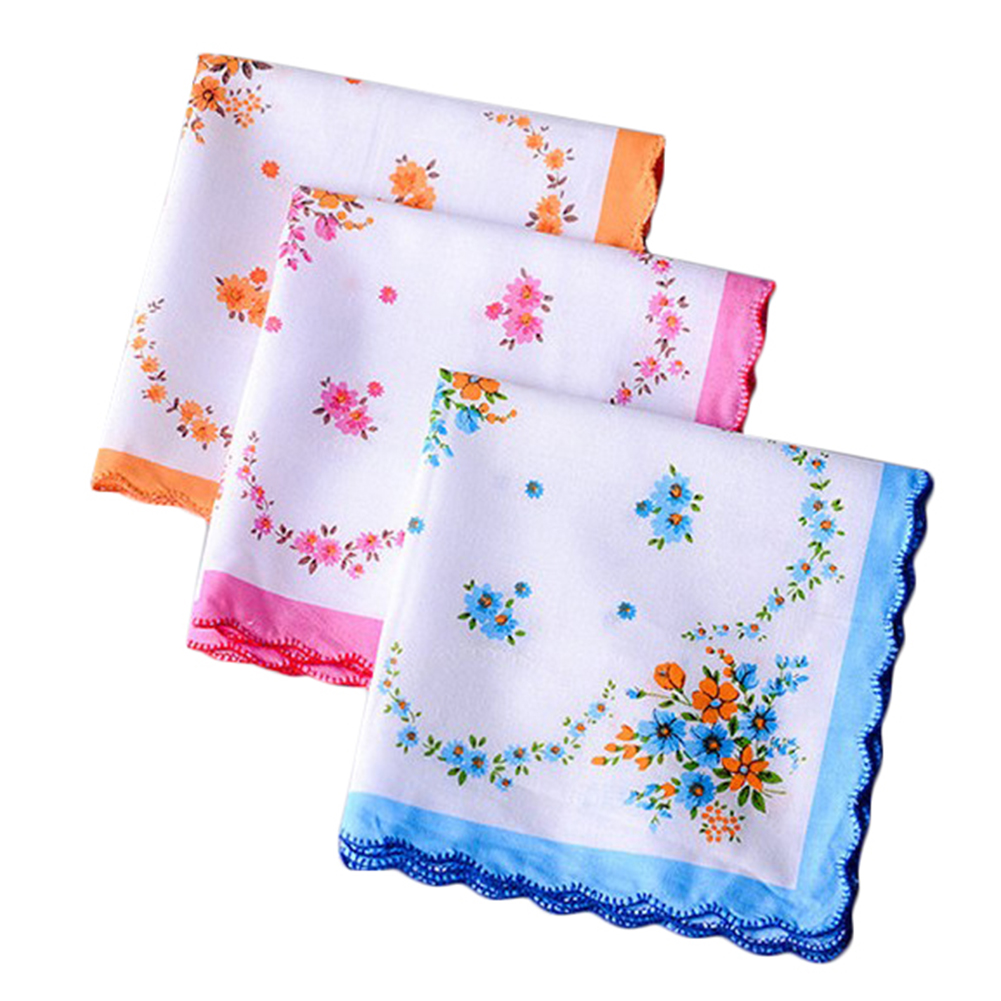 5Pcs Flower Handkerchief Lady Square Pocket Floral Women Handkerchief Towels 30cm Novelty Wedding Gift Party Dining Table Hanky