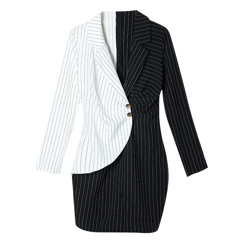 Hcac5cad739604984a6d4f76bf07ad3fao Autumn Dress Women Turn Down Neck Long Sleeve Buttons Striped Patchwork Tight Blazer Dress Vestido De Festa White Dress #D5