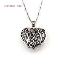 10pcs/lots 3D Love hollow Heart charm Pendant Necklaces 23.6inches 35X35.2MM Antique silver A-554d
