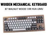 IDOBAO 87 Walnut Wood Mechanical Keyboard 108 Limu Hua DIY Clavier Gamer Contain Keycaps Art Keypad custom keyboard Kit