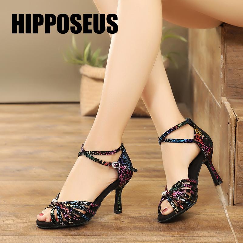 Hipposeus Latin Dance Shoes For Women Ladies Girls Ballrooom Tango Dancing Shoes Salsa Sandals Practise Shoes 6/7.5/9CM Heels