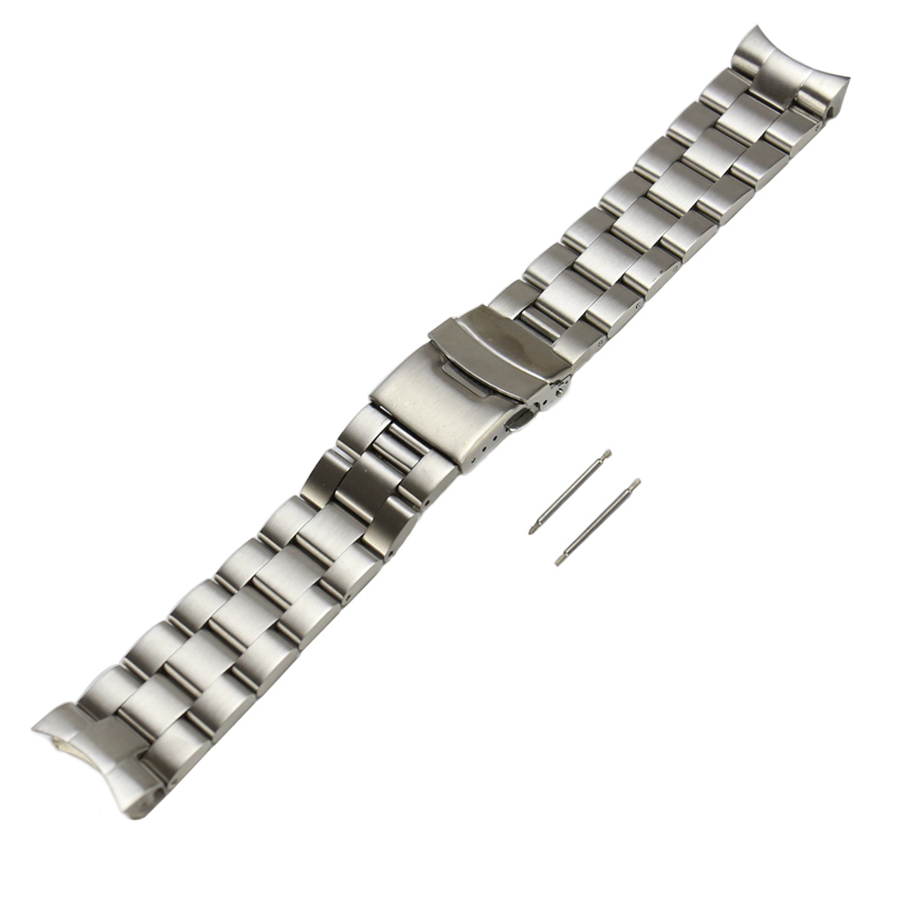 22mm Solid Curved End Watch Strap Band Bracelet Fit For SKX007