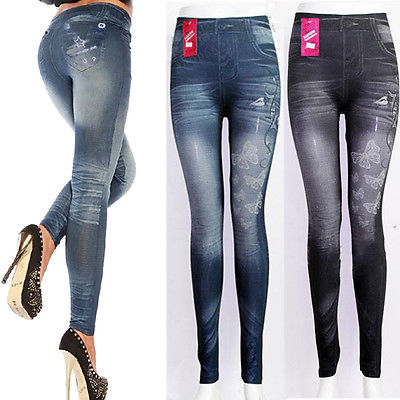 Fashion Jeggings Denim Look Fit Black Biue One Size New Womens Leggings Women Ladies