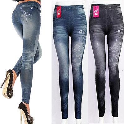 Fashion Jeggings Denim Look Fit Black Biue One Size New Womens Leggings Women Ladies