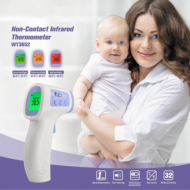 IR Infrared Digital Forehead Thermometer Non-Contact Body For Baby/Adult