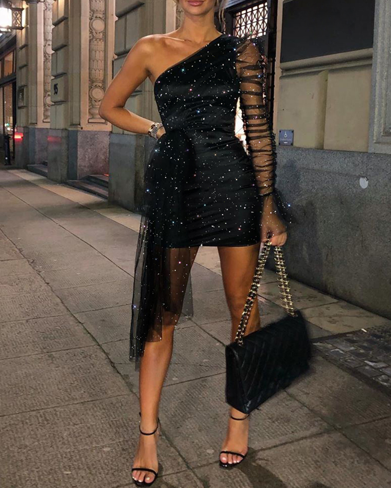 2020 Women Elegant Fashion Black Mini Dress Female Sexy Glitter One Shoulder Sheer Mesh Ruched Party Dress