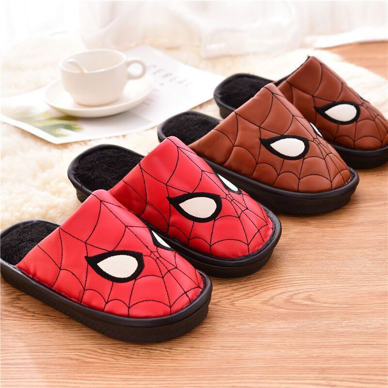 Avenger Kids Home Indoor Slipper For Children Leather Cotton Spiderman Shoes Slippers Waterproof Non-slip Slippers