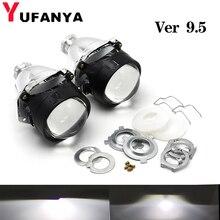 YUFANYA 2Pcs 2.5นิ้วBi Xenonโปรเจคเตอร์เลนส์Ver 9.5ชุดไฟหน้ารถสำหรับH1 H4 H7ซ็อกเก็ตรถติดตั้งอัพเกรดใช้H1 Xenon