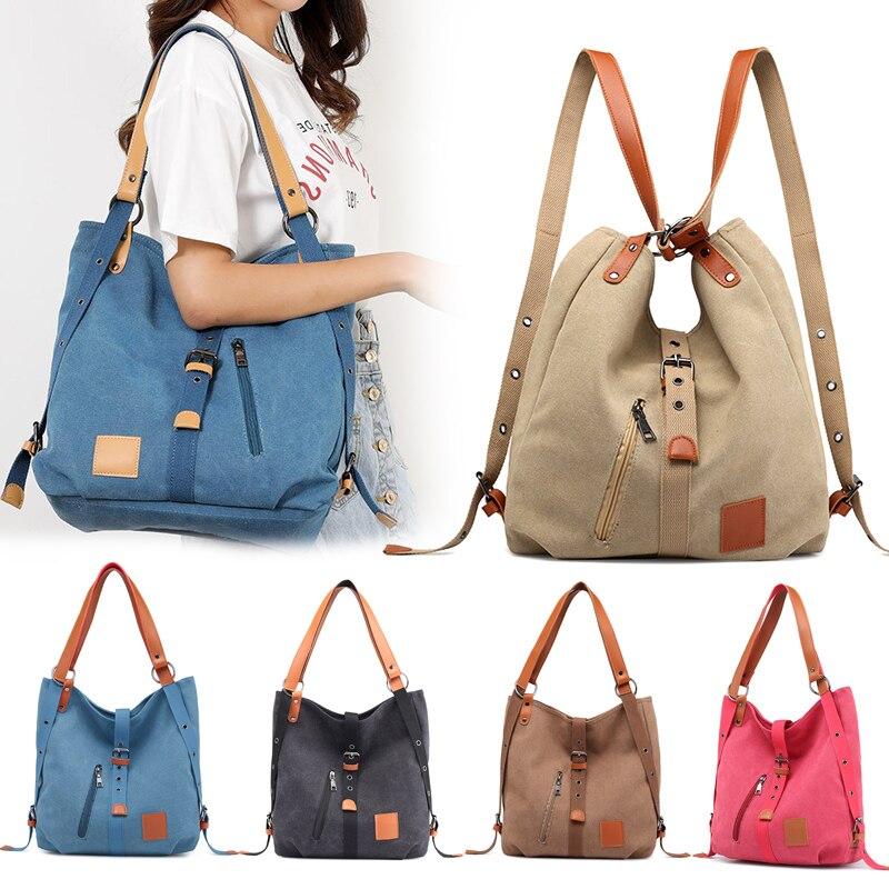 Women Bag 2020 Vintage Two Way Canvas Tote Bag Large Capacity Handbag Luxury Handbags Women Bags Designer Bolsa Feminina Sac