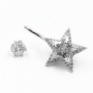 Image 3 - 925 Sterling Zilveren Buik Piercing Ring Star Zirconia Clear Belly Button Ring Voor Vrouwen Lichaam Sieraden