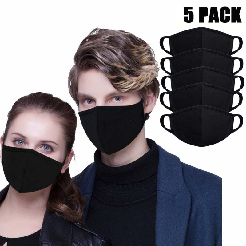 Unisex Mouth Mask Adjustable Anti Dust Face Mouth Mask Black Cotton Face Mask For Cycling Camping Travel Healthy Mask