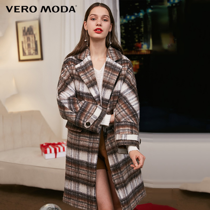 Vero Moda Winter Long  Lapel Collar Wool Check Coat | 318327507