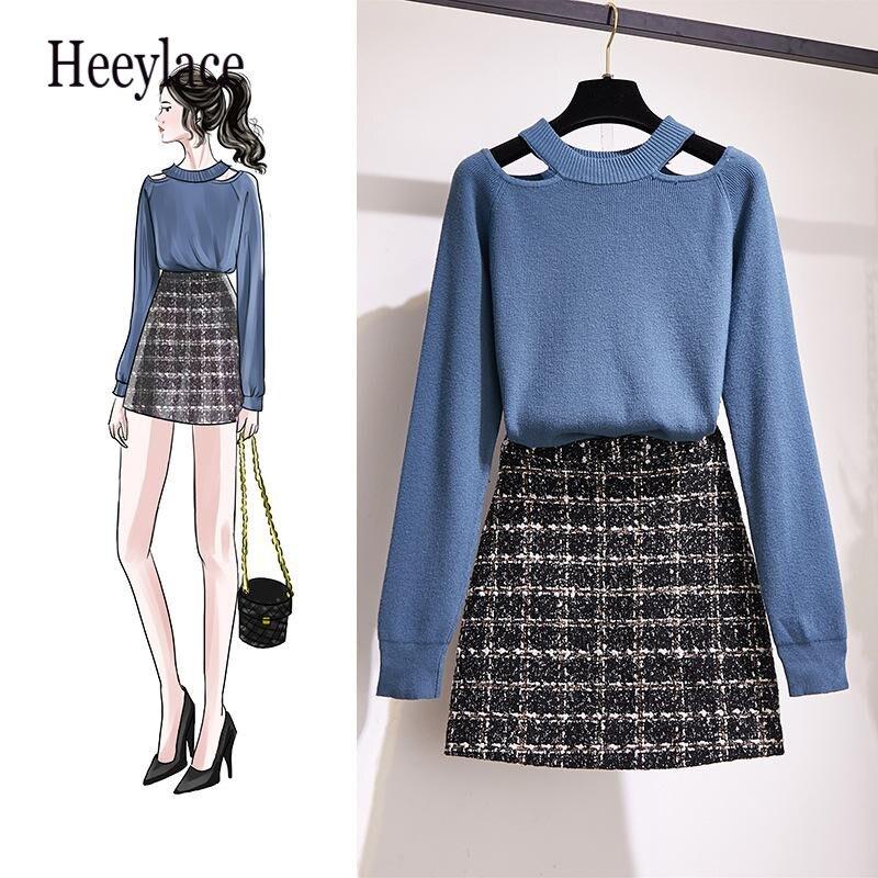 Korean Style Women 2 Piece Outfits Knitted Sweater Plaid Mini Skirt Set Casual Elegant Ladies 2 Piece Set Fall Winter Set