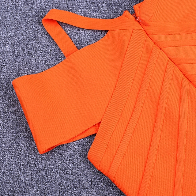 Women Bandage Dress Kendall Jenner Outfits Elegant Summer Off Shoulder Bandage Dress Orange Sexy Bodycon Dress Party Club 6