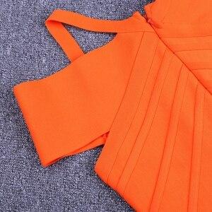 Image 5 - 鹿の女性の女性の包帯ドレス 2019 新着エレガントな夏オフショルダー包帯ドレスオレンジセクシーなボディコンドレスパーティークラブ