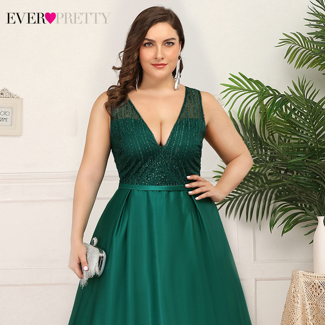 Plus Size Christamas Prom Dresses Ever Pretty EP00839 V-Neck Sequined Ruched Elegant Holiday Party Dress For Girls Gala Jurken 5