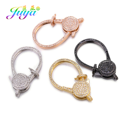 Juya Luxury Zircon Lobster Clasps Docorative Fastener Screw Lock Bolt Clasps For DIY Beaded Jewelry Making  Accessories Supplies