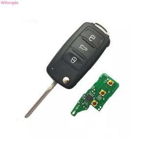 Wilongda Car key Flip Remote Key with ID48 Chip 434mhz 5K0837202AD 5K0 837 202 AD for VW VolksWagen auto key