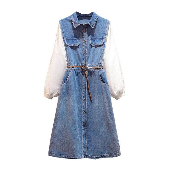L-5XL grande taille femmes Denim robe 2019 automne à manches longues Femme ample Patchwork robe 4XL grande taille décontracté bleu Denim robes - 2