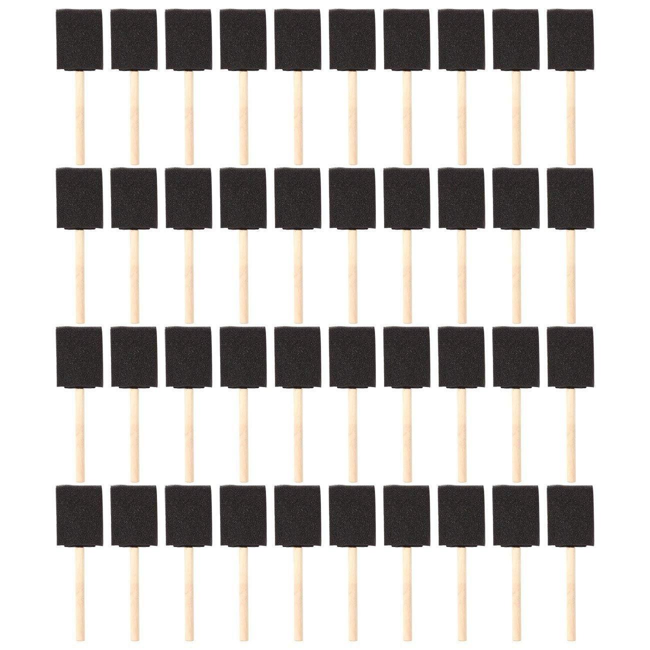 Ofis ve Okul Malzemeleri'ten Boya Fırçaları'de 2 inç Köpük Sünger Ahşap Saplı Boya Fırçası Seti (Değer 40 paket) Hafif  dayanıklı ve Akrilikler için  Lekeleri  Vernik title=